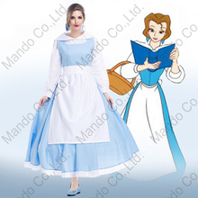 Movie Beauty and the Beast Princess Bella Maid Cosplay Costume Dress halloween Girls Masquerade party outfit 3pcs set suit