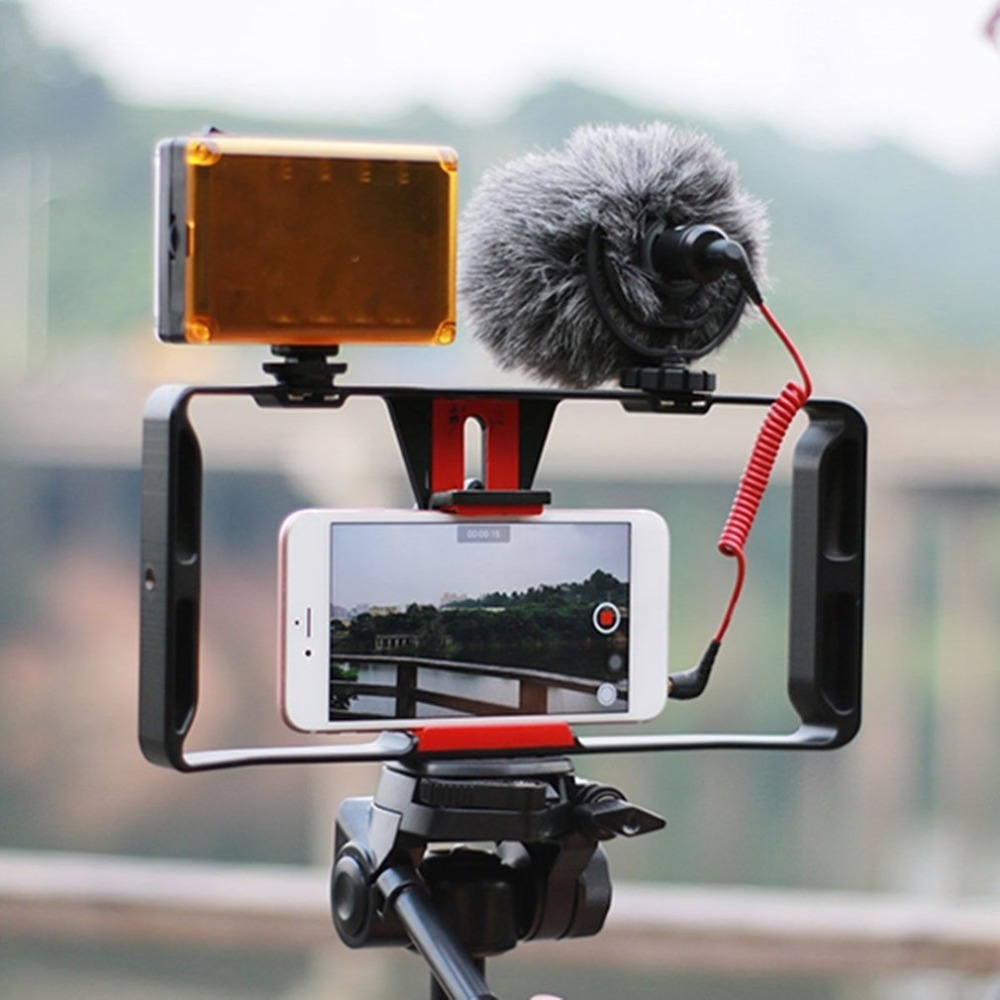 Video Camera Cage Stabilizer Film Making Rig For Smart Phone Video Rig Mobile Phone Holder Hand Grip Bracket Holder Stabilizer