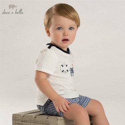 DB3536 dave bella summer baby boy printed boy cotton t shirt infant clothes toddle tees boys blue tops kids t-shirt
