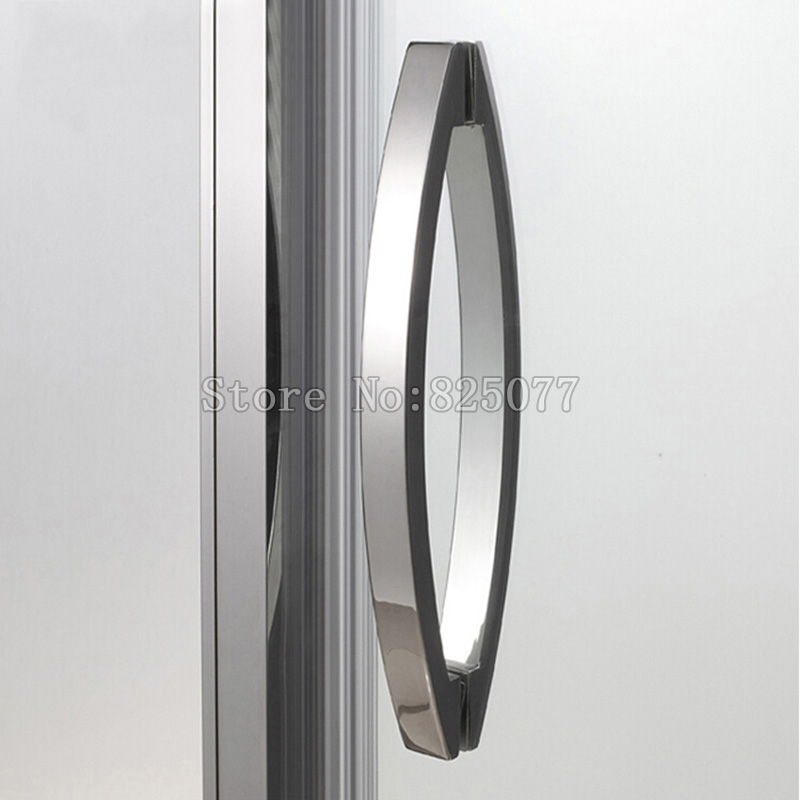 Frameless Shower Door Square tube Moon Bend Handle 304 stainless steel Polish Chrome C-C:400mm HD12 h009 40 bath room shower glass door handle 304 stainless steel polish chrome frame less c c 400mm