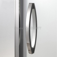 H010 Frameless Shower Door Square tube Moon Bend Handle 304 stainless steel Polish Chrome C-C:400mm h007lr frameless bath room shower glass door square tube handle l shape with r 304 stainless steel polish chrome