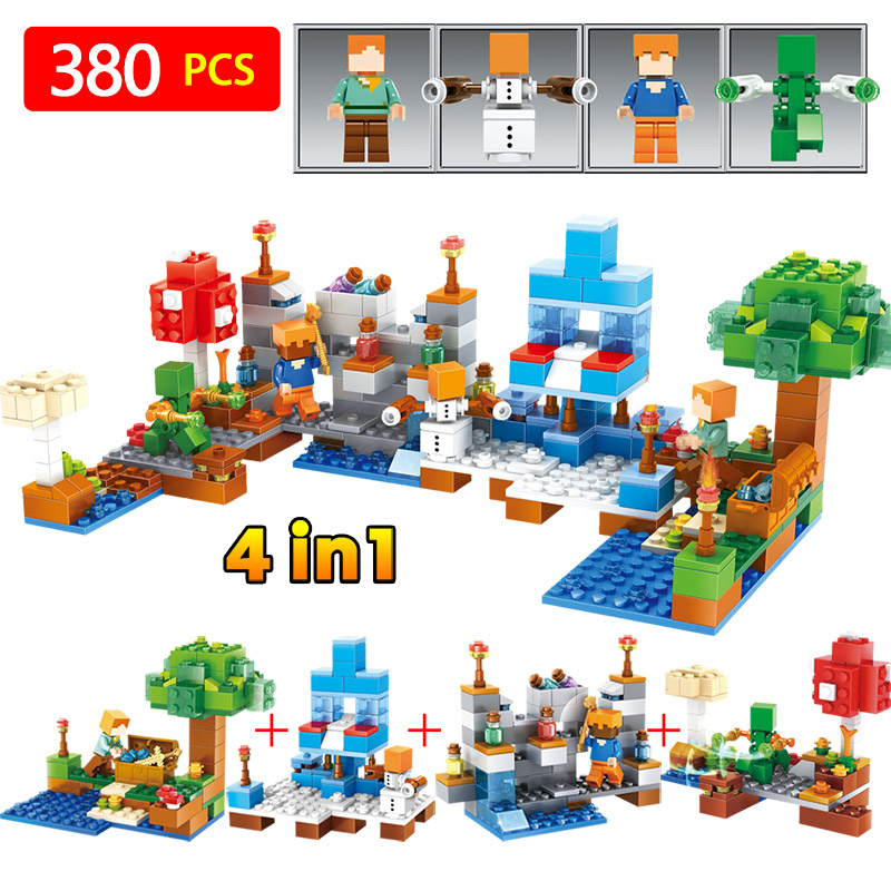 4 in 1 My World My Village Compatible With LegoINGLYS Minecrafted Building Block Bricks DIY Enlighten Brinquedos Gift Toys free shipping manor 3 diy enlighten block bricks compatible with other assembles particles