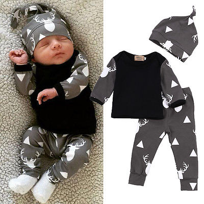 Newborn Baby Boys Girls Clothes Printed Deer T-shirt + Pant + Hat 3pcs Outfits Set Cute Cartoon Baby Clothing Sets 0-24M cotton baby rompers set newborn clothes baby clothing boys girls cartoon jumpsuits long sleeve overalls coveralls autumn winter