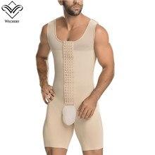 Wechery erkekler şekillendirme 2018 yeni eğitmenler erkek kolsuz tam Bodysuit S 6XL açık Crotch korse siyah bej zayıflama Shapewear
