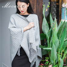 Фотография Mocache tassel scarf large size gray plain scarf spring and autumn autumn and winter women gray gray acrylic new arrival SMT23