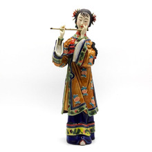Ceramic Sculpture Decorative Figurines Chinese Antique Imitation Piper Statue Arts Collectibles Gifts