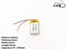 10 pçs/lote 3.7 V, 170 mAH, 601525 Polímero de íon de lítio/bateria de Iões de lítio para o BRINQUEDO, BANCO DO PODER, GPS, mp3, mp4