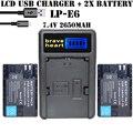 2x batería lp-e6 lpe6 lp e6 batería de la cámara + cargador para canon dslr EOS 5D Mark II Mark III 60D 7D 60Da 6D 70D cámara accesorio