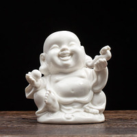 Home/Car Decoration Ornament Laughing Buddha Statues Sculptures White Porcelain Chinese Buddhism Lucky/Happy/Wealth/Peace Sign