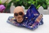 Natural Quartz Crystal Sky Blue Angel Halo Wood Stone Skull Specimens