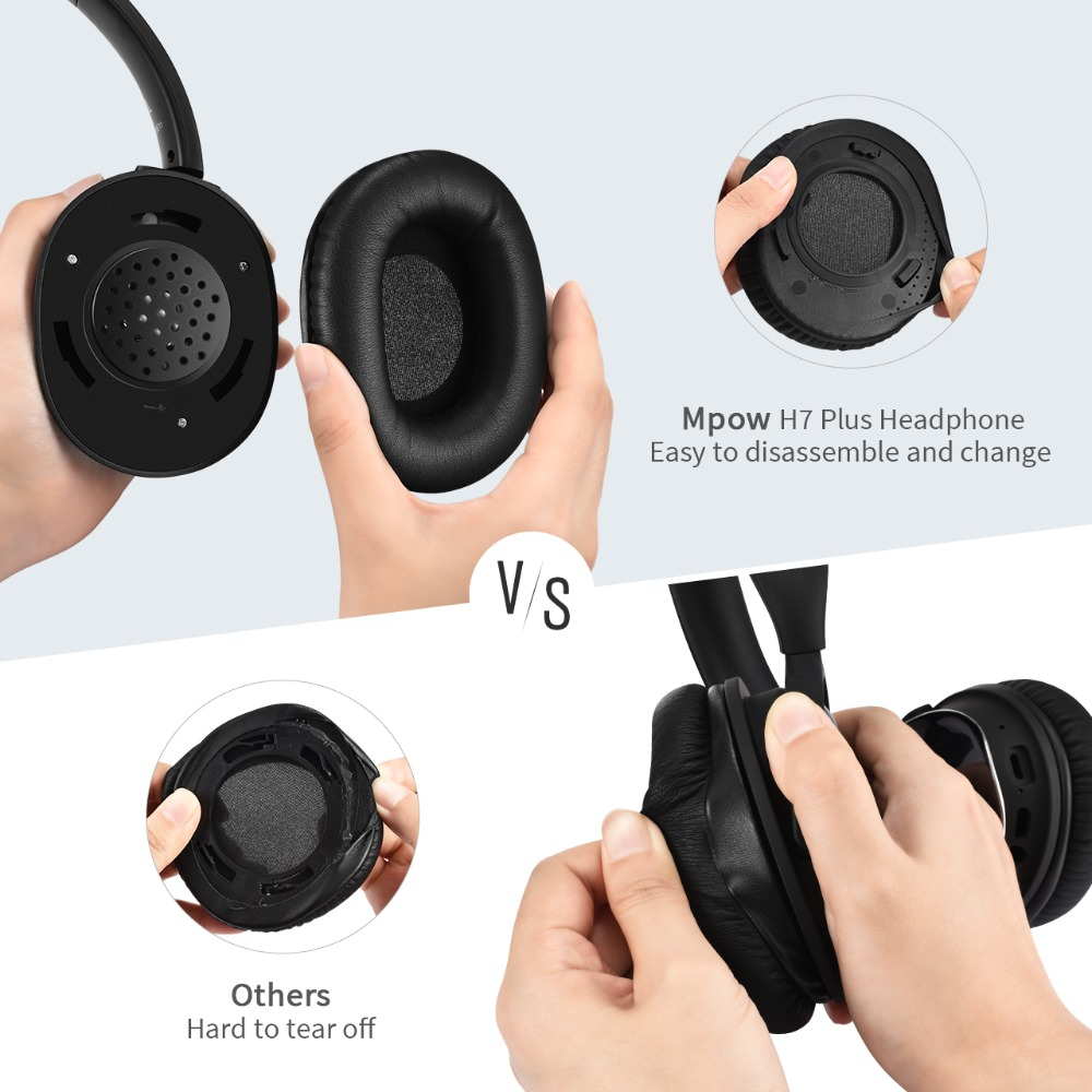 Mpow APTX H7 Plus Wireless/Wired Headphones Bluetooth 4.1 Headset 2 Replacement Earmuffs For iPhone Huawei Xiaomi Tablet Samsung
