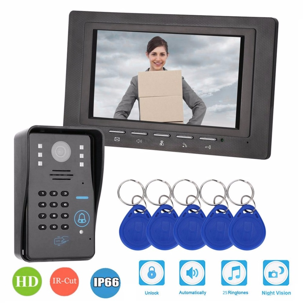 7inch 1V1 RFID Password Monitor Video Door Phone Intercom Doorbell With IR Camera Night Vision 1000TV Line Access Control System