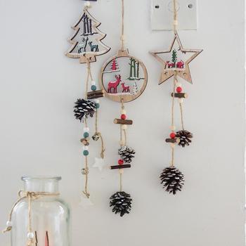 Christmas Tree Pendant Wooden Five Pointed Star Elk Door Wall
