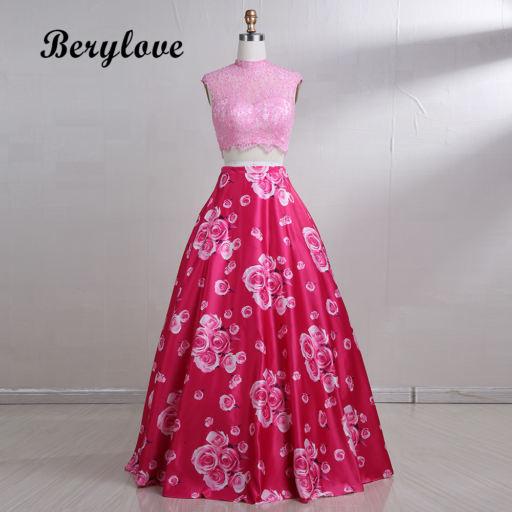 BeryLove Long Pink Floral 2 Pieces Evening Dresses 2018 Lace Evening ...