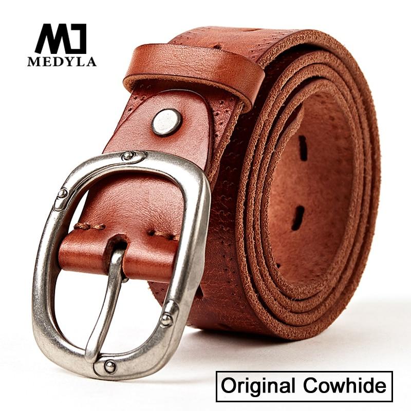 MEDYLA Cowhide Belt Vintage Buckle Designed Upper Genuine Leather Belt High Quality Cummerbunds Retro Gifts for