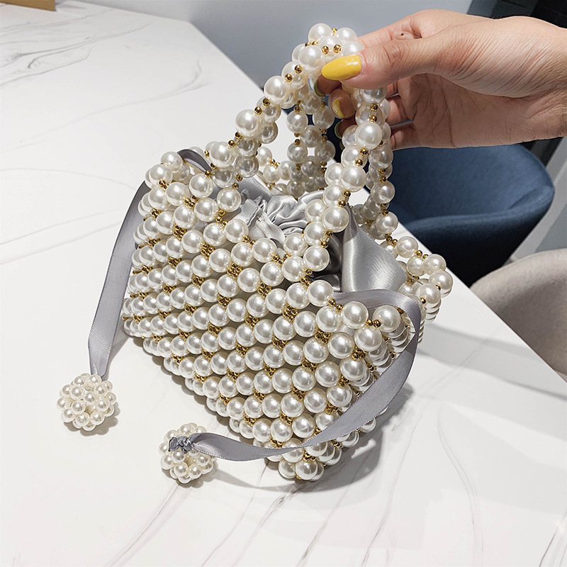 Hand-woven Pearl Bags Luxury Handbags Women Bags Designer Beads Women's Bags Simple Bag Elegant Evening Clutch Purses New 2019