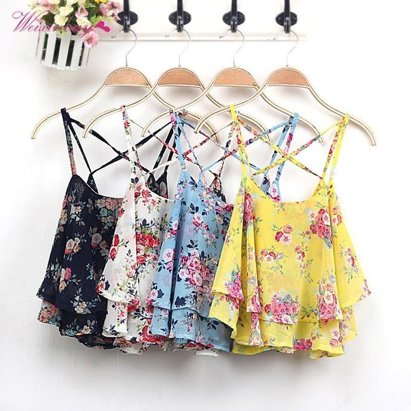 2019 Women Fashion Chiffon Shirt Cross Strap Ruffles Sleeveless Floral Printed Shirts Blouses Tops