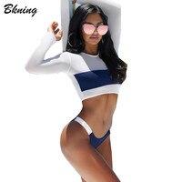 Bkning Mesh Swimsuits Long Sleeve Swimwear Women Swimming Suit Sexy Bikini Set Bathing Suit High Cut