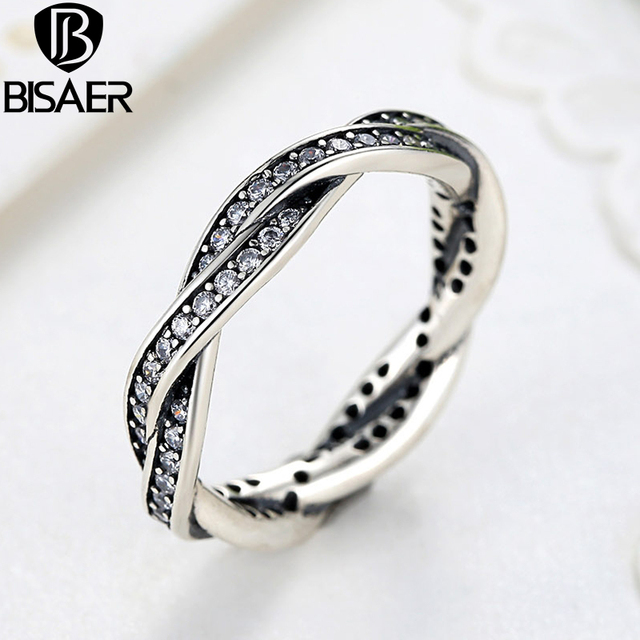 BISAER Silver Plated Color Weaving Finger Ring Jewelry Women Wedding Luxury Jewe