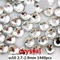 Claro de Cristal Nail Art Hotfix Rhinestones De Cristal 1440 unids ss10 2.7-2.9mm Flatback Pegamento En Strass Chatons DIY Scrapbooking