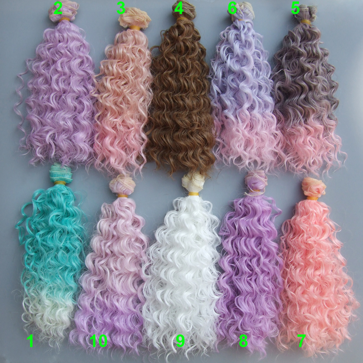 25cm Small Curly Thick Doll Hair 1/3 1/4 1/6 BJD Extension SD OD BJD Doll Wigs Diy