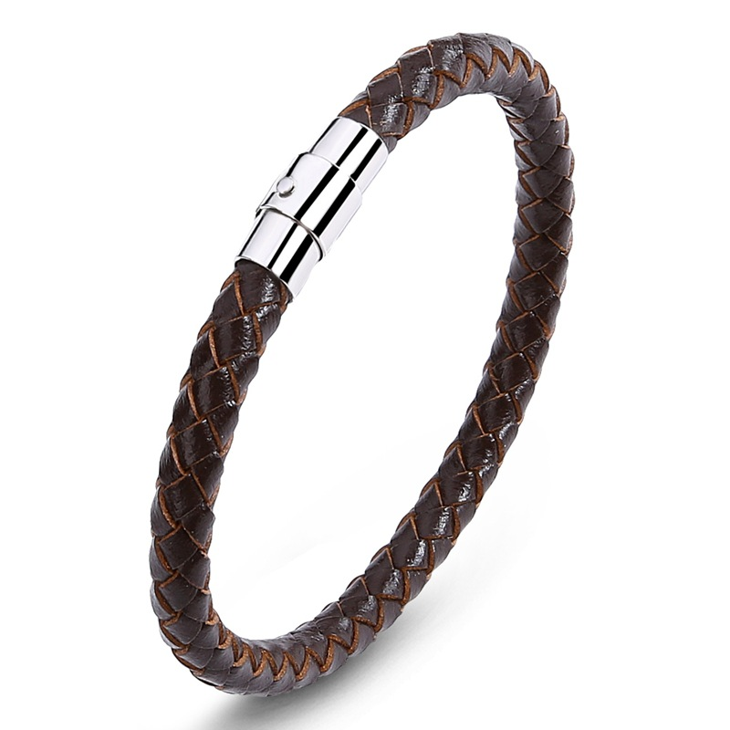 5Pcs Fashion jewelry mens ladies leather braided rope bracelet stainless steel magnet buckle classic bracelet wild PS0026