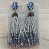 NOUVEAU Bohême Gris Fumée Bleu Clair Perles 12 Rangées Commune Combiner Perlé Glands Des Boucles D'oreille Pour Les Bijoux Des Femmes De Noce