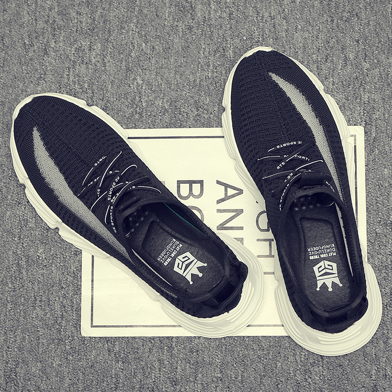Été mouche tissage respirant mocassins hommes 2019 nouvelle mode polyvalent léger tendance petites chaussures blanches chaussures noires