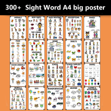 20Groups/Set A4 Size Cognition English Words Card Cartoon Poster Mind Map Early Learning Education Classroom Decoration Teacher