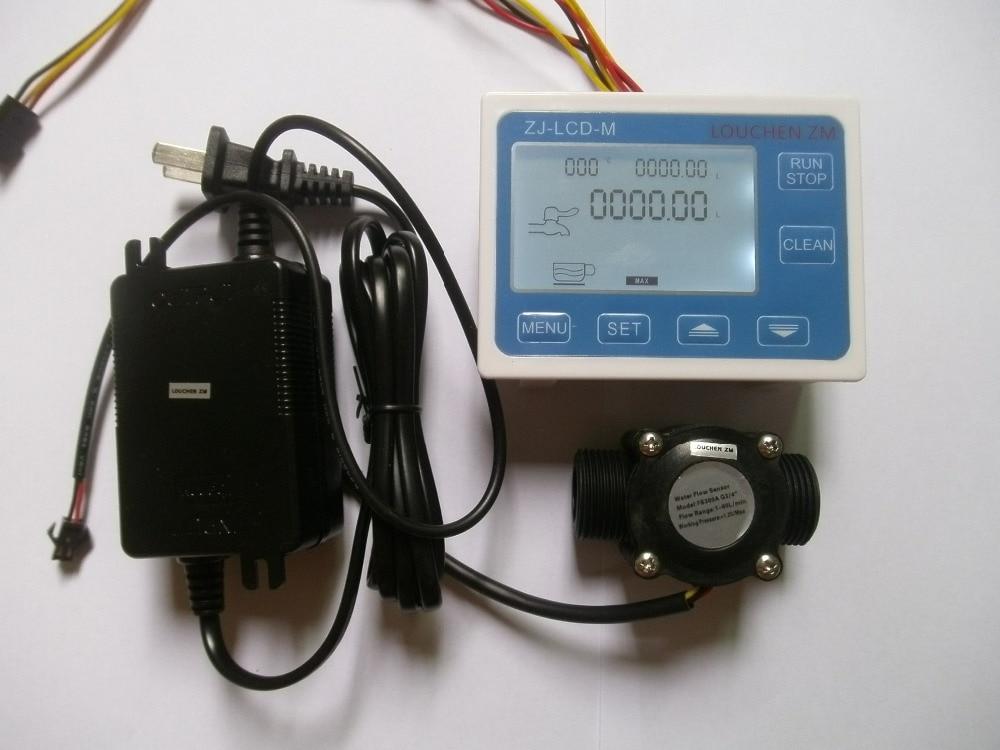 G3/4 Flow Water Sensor Meter+DigitalLCD Display Quantitative Control 1-60L/min + power adapter