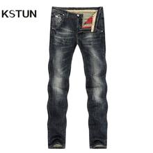 KSTUN erkek kot Retro mavi esneklik İnce düz düzenli Fit Vintage eğlence motosiklet kot erkek kot pantolon kot boyutu 40