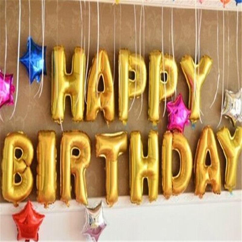 aliexpresscom buy helium balloon happy birthday 16inch gold foil balloons alphabet letter pattern combine for birthday party holiday decor from reliable