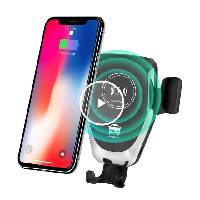 Auto Wireless Qi Car Charger 10w Mount for iphone 8 xr Fast Qi Wireless Charger Car Holder 10w Mount for Samsung Galaxy Mobile