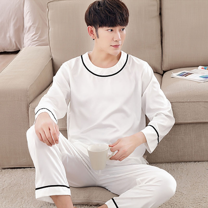Mens Pyjamas Spring Long sleeve Silk Sleepwear Luxury Silk Satin Pajamas White Youth Men Lounge Pajama Sets Plus Size 3XL african elephant