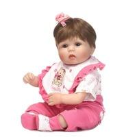 16 Silicone Reborn Baby Dolls New NPK Girl Toy Realistic Babies Doll 40 Cm Wear Pink
