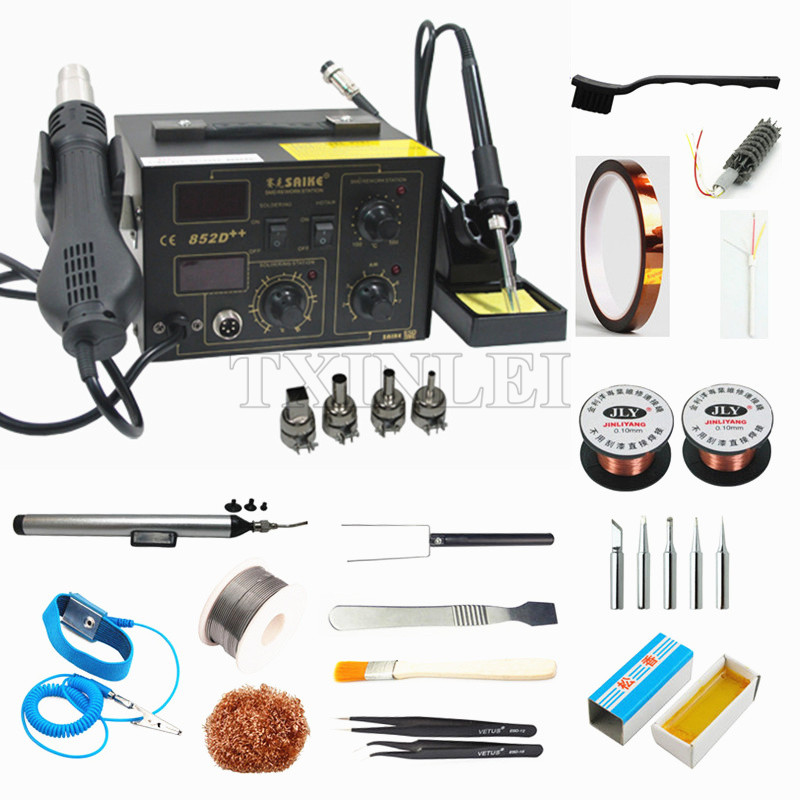 220V Hot Air Gun Dryer Iron 2 In 1 Station Saike 852D++ Soldering Tools Set