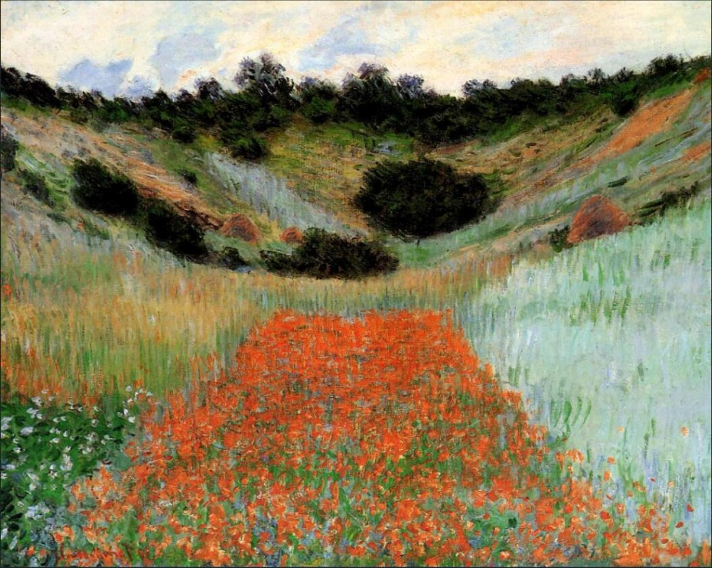 High quality Oil painting Canvas Reproductions Poppy Field in a Hollow near Giverny (1885  By Claude Monet Painting hand paintedHigh quality Oil painting Canvas Reproductions Poppy Field in a Hollow near Giverny (1885  By Claude Monet Painting hand painted