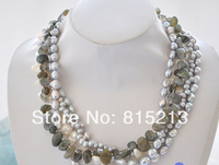 FREE SHIPPING>@@> N1341 5row gray white baroque rice freshwater pearl Moon stone necklace