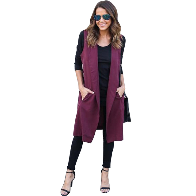 S-2XL Autumn Winter Capes Coats Women Sleeveless Long Trench Outwear 2017 Elegant Office Windbreaker Manteau Femme Burderry Tops