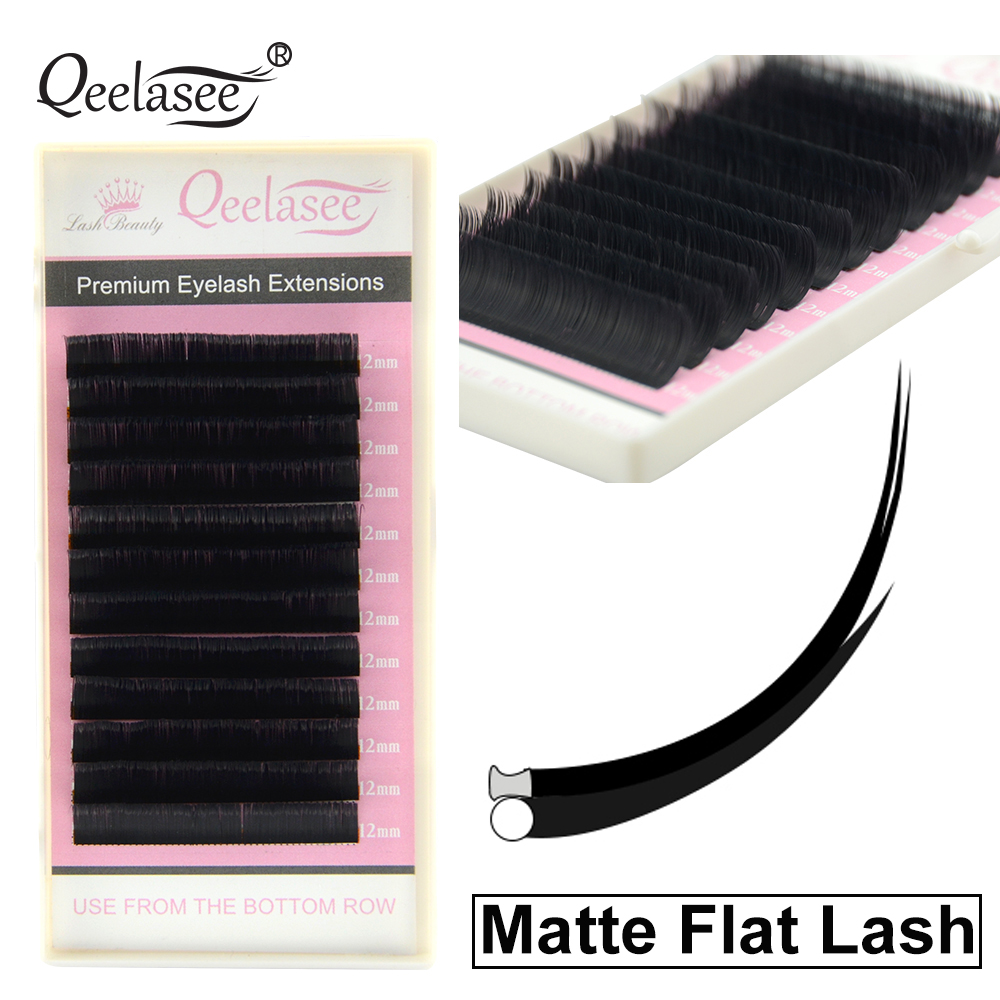 Qeelasee New Matte Flat Eyelash Extensions Individual Mink 0.15 0.20 Softer Ellipse Flat Lash Split Tips Soft Volume Looking