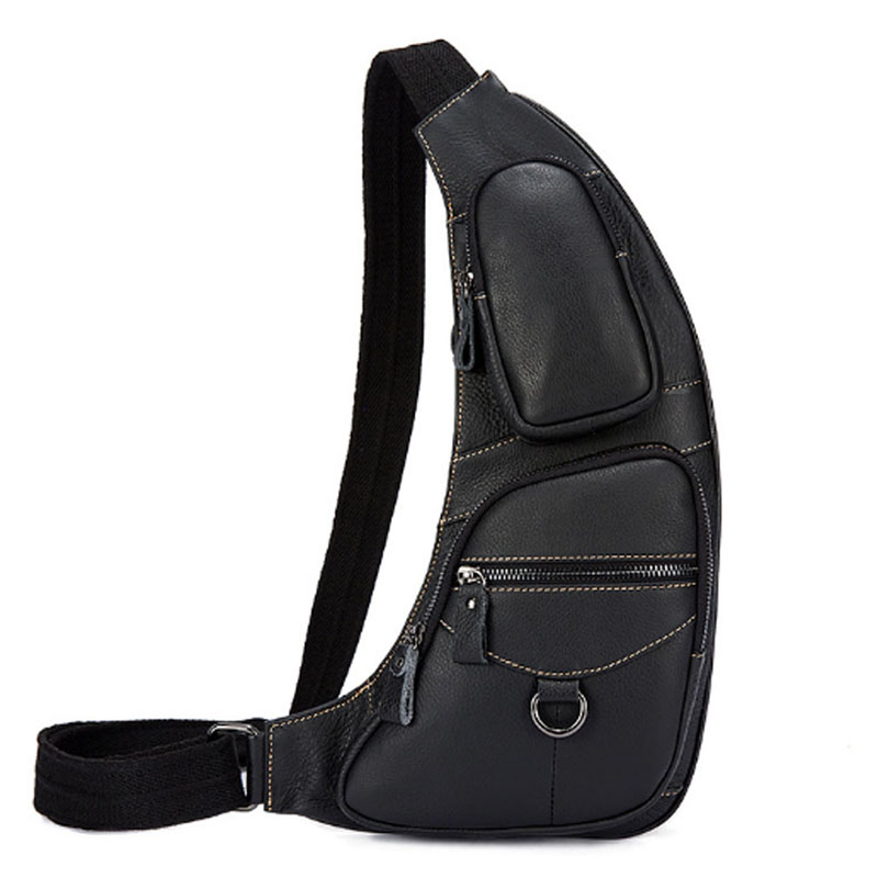 High Quality Men Genuine Leather Cowhide Unbalance Sling Chest Back Pack fashion Travel Cross Body Crossbody Shoulder Bag men s genuine leather belt buckle back pack shoulder messenger unbalance sling chest bag
