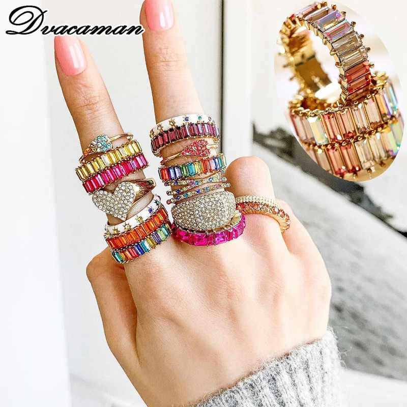 Dvacaman Luxury Brand Multi-Color Crystal Ring for Women 2019 Trendy Round Shaped Ring Engagement Gifts Jewelry Wedding Bijoux