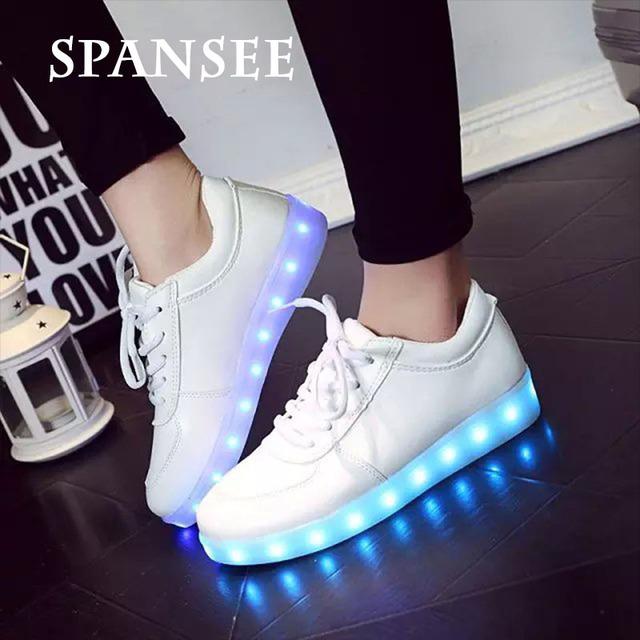 Spansee tamaño 35-45 shoes con luz led up led usb zapatillas brillantes zapatillas luminoso shoes cestas tenis feminino infantil