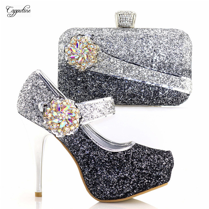 Здесь продается  High class black with silver thin super high heel sandal shoes and evening bag set for party 8886-1, heel height 12cm  Обувь