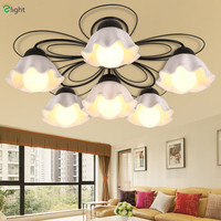 2016 American Foyer Simple Pastoral Glass Petal Shades Led Chandelier Nordic Stoving Vanish Iron Flower Chandelier