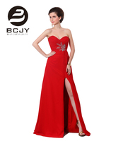2019 Vestidos De Baile Sexy Red Sweetheart Strapless Chiffon A Line Prom Dress With High Side Slits Beading Crystal Party Dress