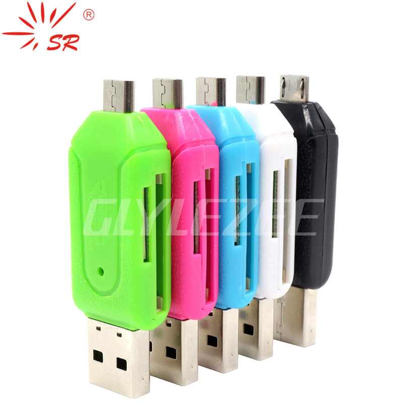 SR 2 in 1 USB OTG Card Reader Universal Micro USB OTG TF/SD Card Reader Phone Extension Headers Micro USB OTG Adapter все цены