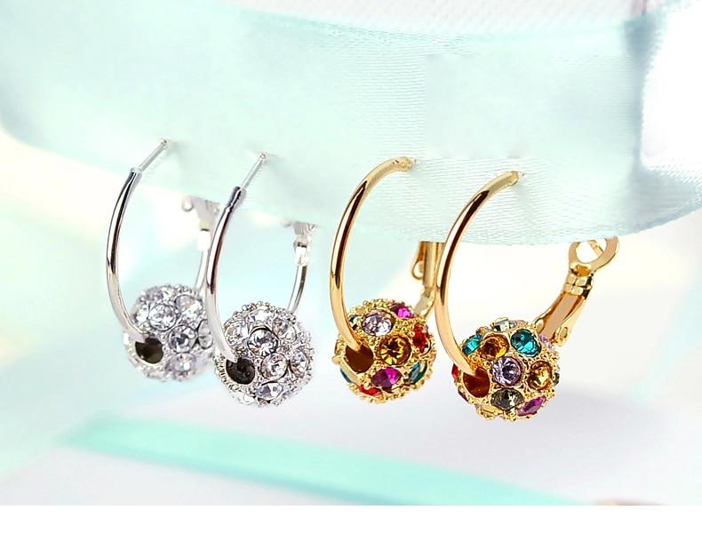 18Bre romantic wedding Bijoux Golden colorful Irregular crystal ball big Ear ring earrings Set for women bride fashion Jewelry 5