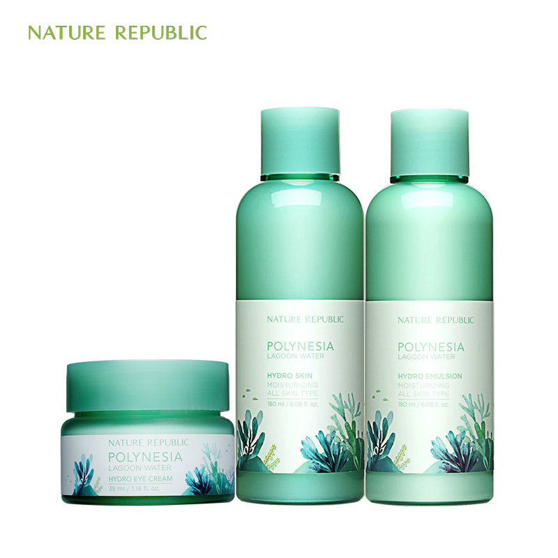 Nature Republic Polynesia Lagoon Water Hydro Eye Cream Hydro Emulsion Hydro Skin Moisturizing Korean Skin Care Set