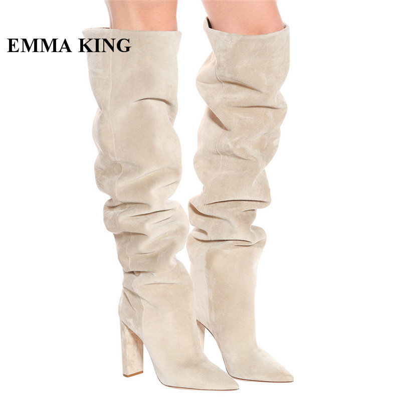 EMMA KING 2018 New Beige Suede Leather Warm Winter Long Boots Women Pointy Chunky Heels Slip-on Thigh High Over The Knee BootsEMMA KING 2018 New Beige Suede Leather Warm Winter Long Boots Women Pointy Chunky Heels Slip-on Thigh High Over The Knee Boots
